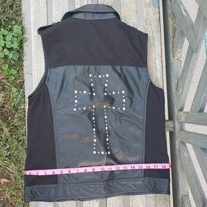 Studded Cross Motorcycle/Biker black zipper vest